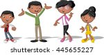 colorful happy black people.... | Shutterstock .eps vector #445655227
