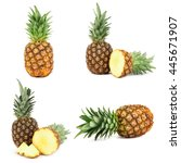 collage of ripe pineapple... | Shutterstock . vector #445671907