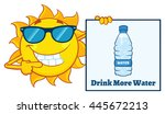 talking sun cartoon mascot...   Shutterstock .eps vector #445672213