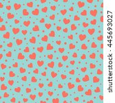 seamless hearts and dots... | Shutterstock .eps vector #445693027