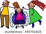a doodle sketch of a happy... | Shutterstock . vector #445702603