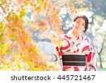 woman wearing japanese...   Shutterstock . vector #445721467