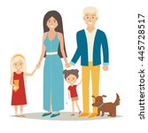 happy family with two kids and... | Shutterstock .eps vector #445728517