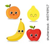 cute and funny fruits set.... | Shutterstock .eps vector #445745917