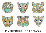 collection of geometric animals ... | Shutterstock .eps vector #445776013