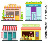 set of shop building facades... | Shutterstock .eps vector #445786027