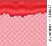 raspberry cream or yogurt... | Shutterstock .eps vector #445808137
