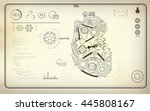 artificial heart  robot heart ... | Shutterstock .eps vector #445808167