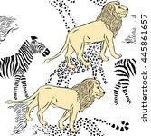 seamless pattern with savanna...   Shutterstock . vector #445861657
