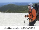 hiking in the mountains in the... | Shutterstock . vector #445866013