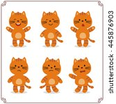 Stock vector set vector illustrations isolated emotion character cartoon kitten stickers emoticons kitten with 445876903