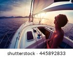 young lady and man working with ... | Shutterstock . vector #445892833