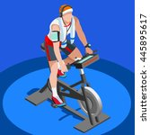 gym exercise bike bicycle sport ... | Shutterstock .eps vector #445895617