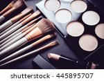 professional makeup brushes and ... | Shutterstock . vector #445895707