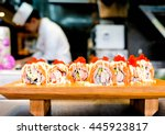 salmon cheese roll top on with... | Shutterstock . vector #445923817