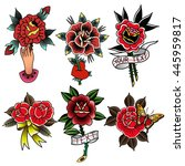 traditional tattoo flowers set... | Shutterstock .eps vector #445959817