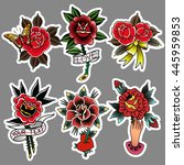 traditional tattoo flowers set... | Shutterstock .eps vector #445959853