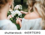 bridesmaids in white dresses... | Shutterstock . vector #445975393