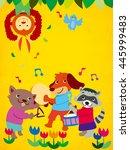 animals playing music... | Shutterstock . vector #445999483
