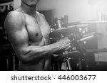 fitness men in training.... | Shutterstock . vector #446003677