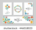 set of retro flower cards... | Shutterstock . vector #446018023