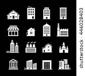 set of various buildings. white ... | Shutterstock . vector #446028403