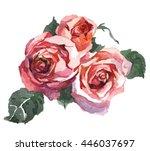 roses watercolor pattern | Shutterstock . vector #446037697