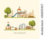 kids playground  city park.... | Shutterstock .eps vector #446055427