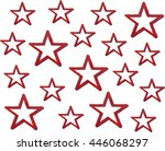 watercolor grunge red stars on... | Shutterstock . vector #446068297