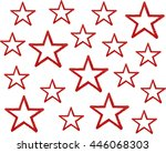 watercolor grunge red stars on... | Shutterstock . vector #446068303