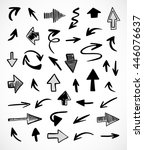 hand drawn arrows  vector set | Shutterstock .eps vector #446076637