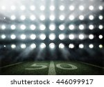 Small photo of American football stadium in lights and flashes in 3d