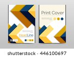 geometric brochure front page ... | Shutterstock . vector #446100697