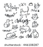 set of cute cat. pet animal... | Shutterstock .eps vector #446108287