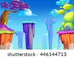 cliff valley. video game's...   Shutterstock . vector #446144713