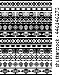 black and white ethnic border... | Shutterstock .eps vector #446146273