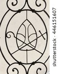 Small photo of Insignia of the episcopal on metal fence, Church on Skalka, Pauline Fathers Monastery, Krakow, Poland.