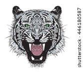 tiger white illustration | Shutterstock .eps vector #446180587