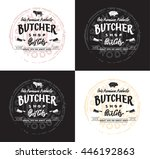 butchers produce. lettering... | Shutterstock .eps vector #446192863