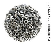 sphere made from nuts and bolts.... | Shutterstock . vector #446199577