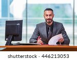 happy businessman sitting at... | Shutterstock . vector #446213053
