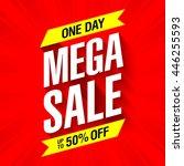 mega sale banner design template | Shutterstock .eps vector #446255593