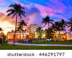 miami beach south beach sunset... | Shutterstock . vector #446291797