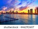 Miami Downtown Skyline Sunset...
