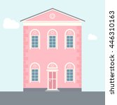 Two Story House. Pink Flat...
