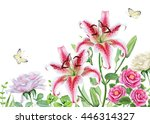 watercolor floral image with... | Shutterstock . vector #446314327
