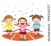 vector illustration of girls on ... | Shutterstock .eps vector #446316127