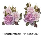 set. bouquet of flowers.... | Shutterstock . vector #446355007