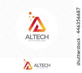 abstract digital letter a logo... | Shutterstock .eps vector #446356687