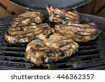 5 pieces of steak on the... | Shutterstock . vector #446362357